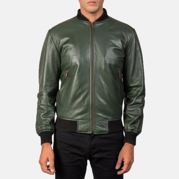trending men green bomber leather jacket