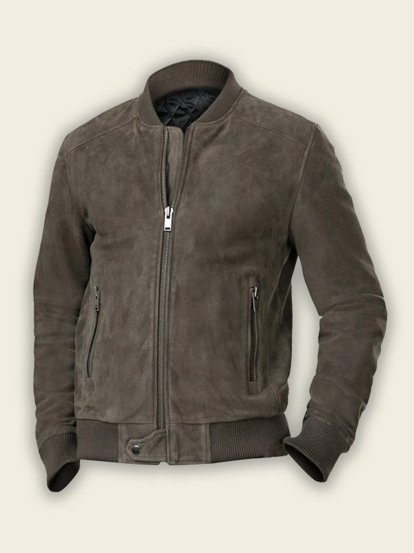 men ash grey bomber jacket