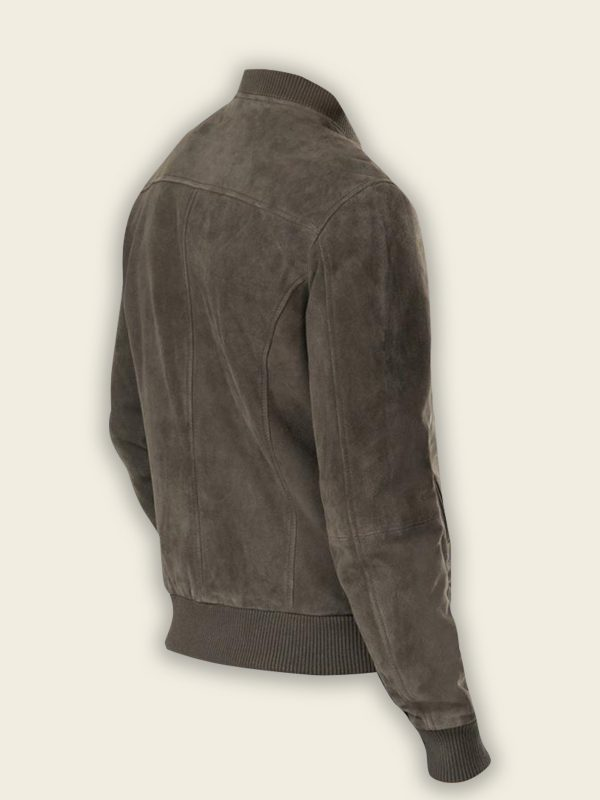 men ash grey suede bomber jacket