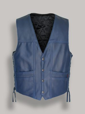 men blue leather vest