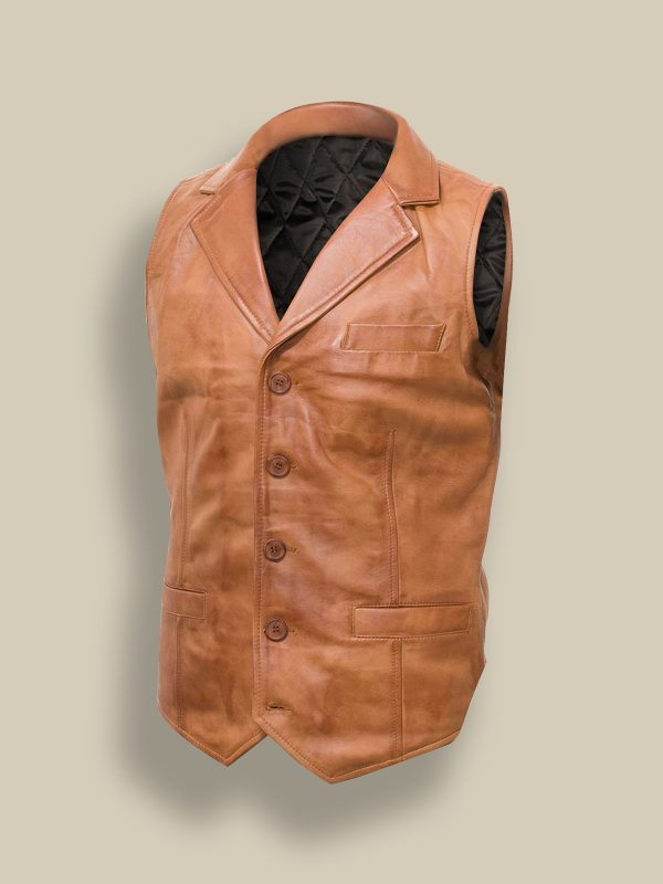 men tan leather vest