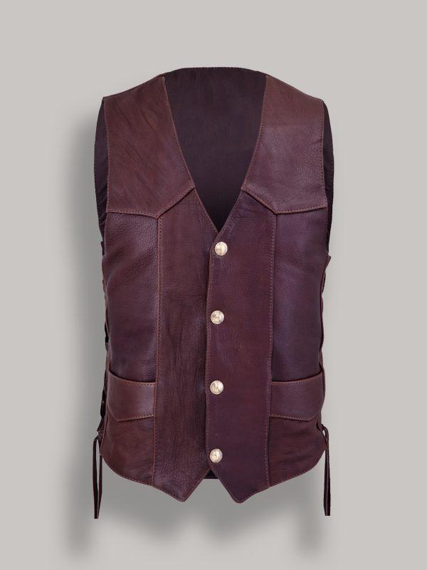 men button leather vest