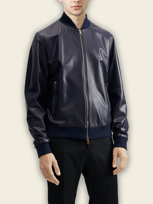 men blue bomber jacket