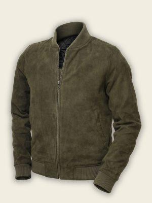 men green bomber suede jacket