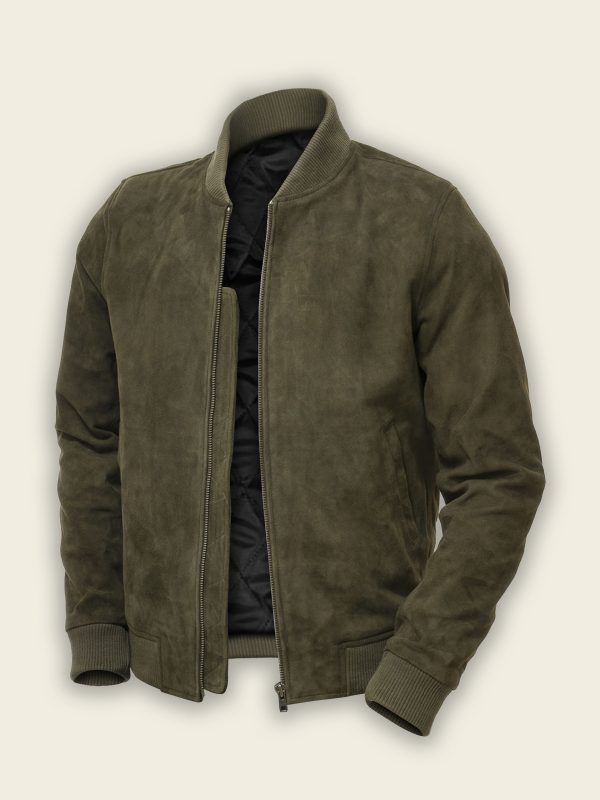 men green bomber suede leather jacket