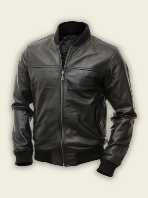stylish men pitch black bomber jacket