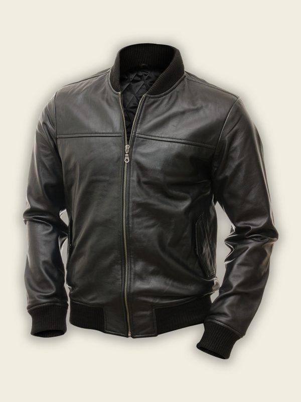 stylish men pitch black bomber jacket