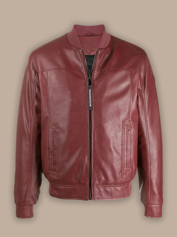trending men red bomber leather jacket