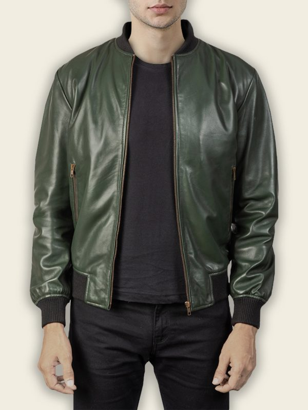 men glossy green bomber jacket