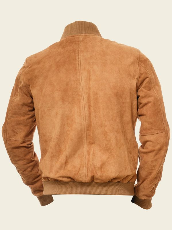 men tan brown suede bomber jacket