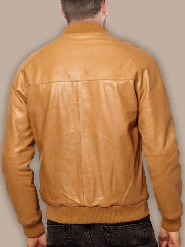 men tan brown bomber leather jacket