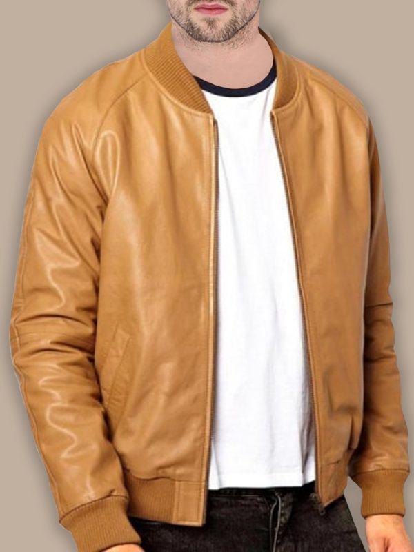 trending men brown bomber leather jacket
