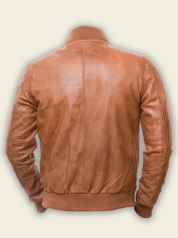 men brown bomber leather jacket