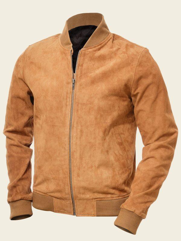 tan brown suede bomber jacket for men
