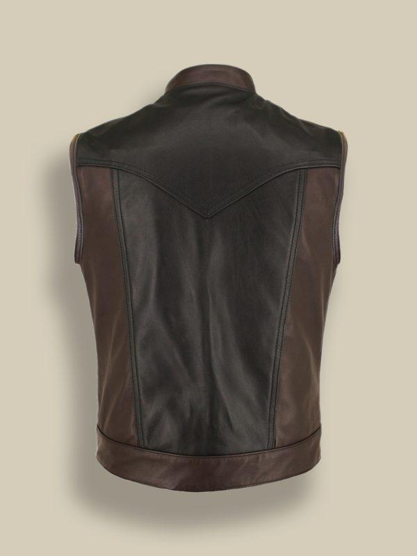 men two tone leather vest
