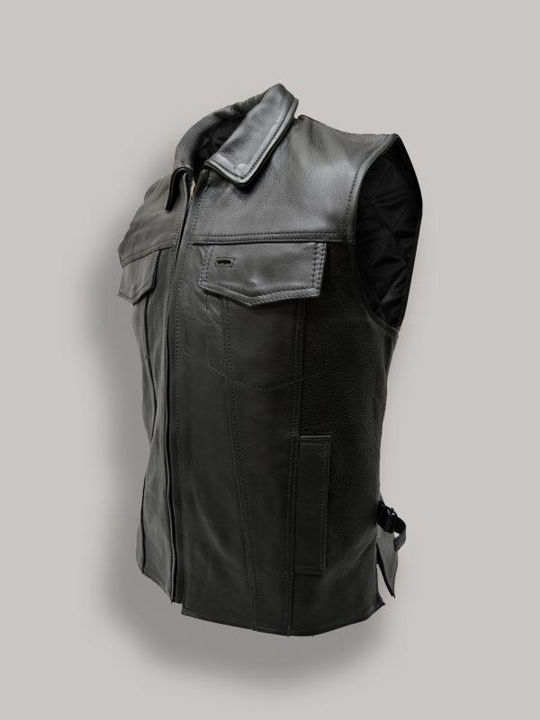 men pure black leather vest