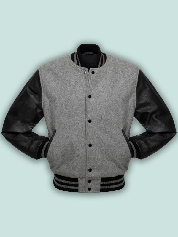 men black and grey varsity jacket