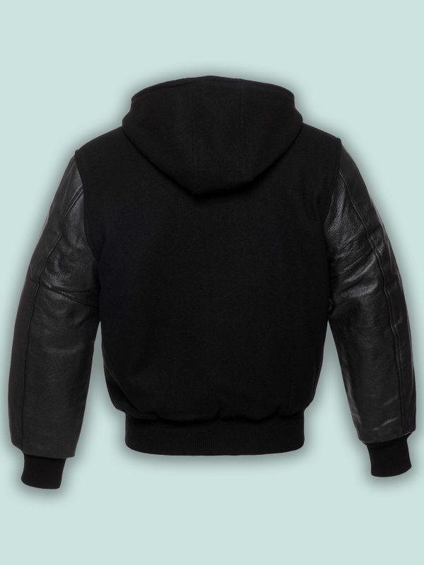 men black hoodie varsity jacket