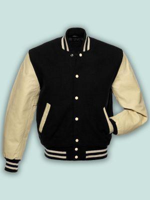 men cream varsity jacket