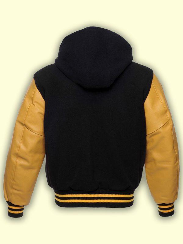 men yellow varsity jacket