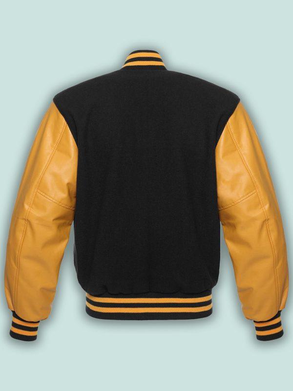 men black and gold varsity jacket