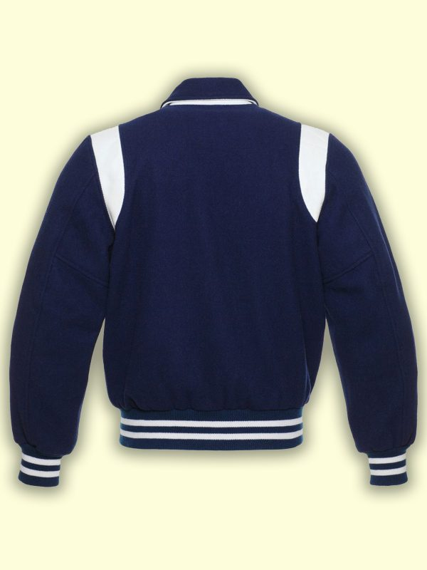 men blue varsity jacket