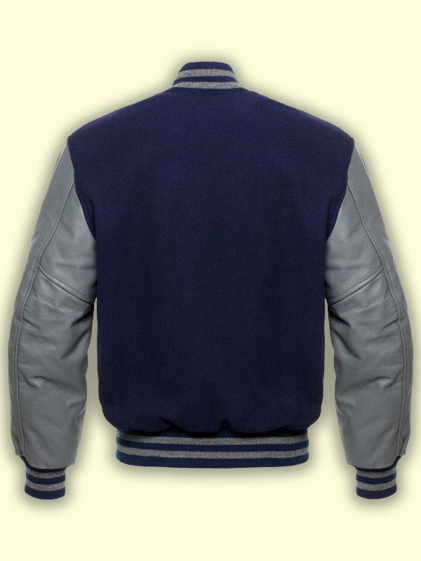 men dark blue varsity jacket