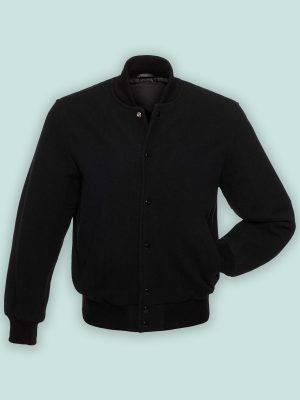 men jet black varsity jacket
