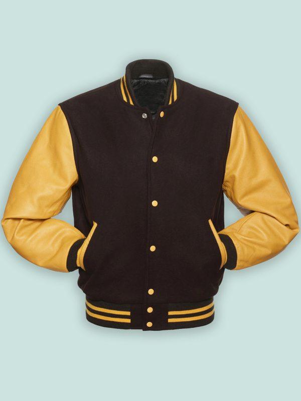 men maroon wool varsity jacket