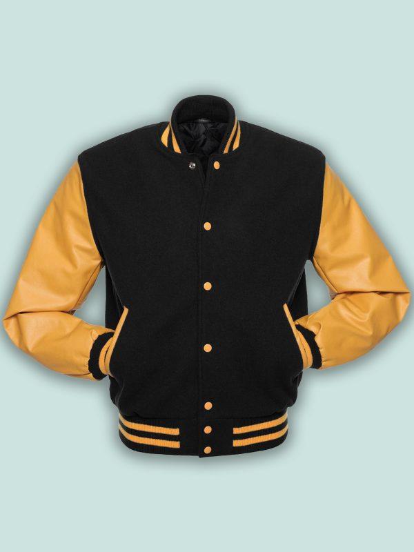 men black wool varsity jacket