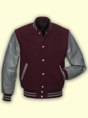 men maroon varsity jacket