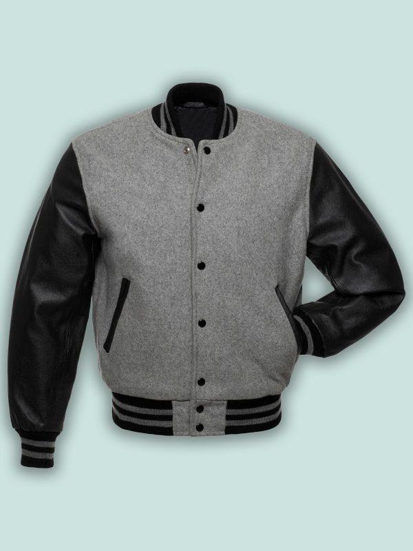 men grey varsity jacket