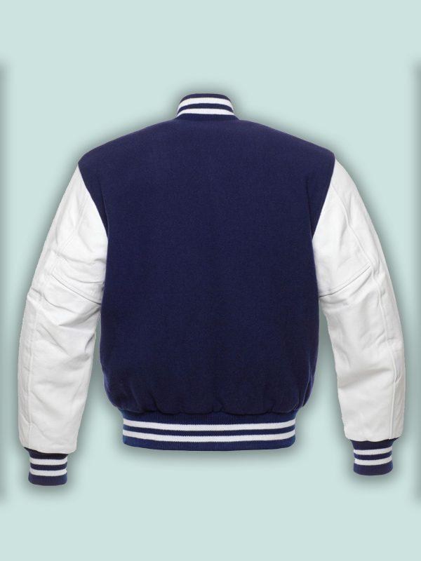 men blue satin varsity jacket