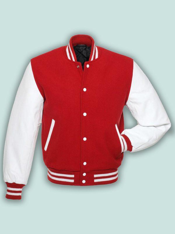 men red fleece varsity jacket