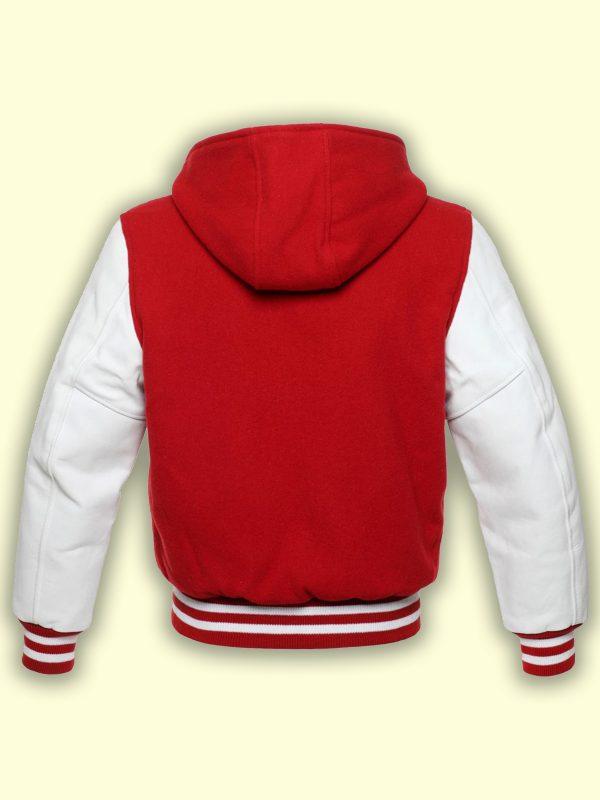 men red hoodie varsity jacket