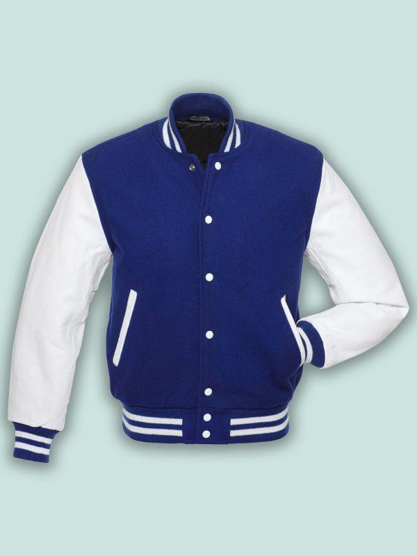 men royal blue varsity jacket