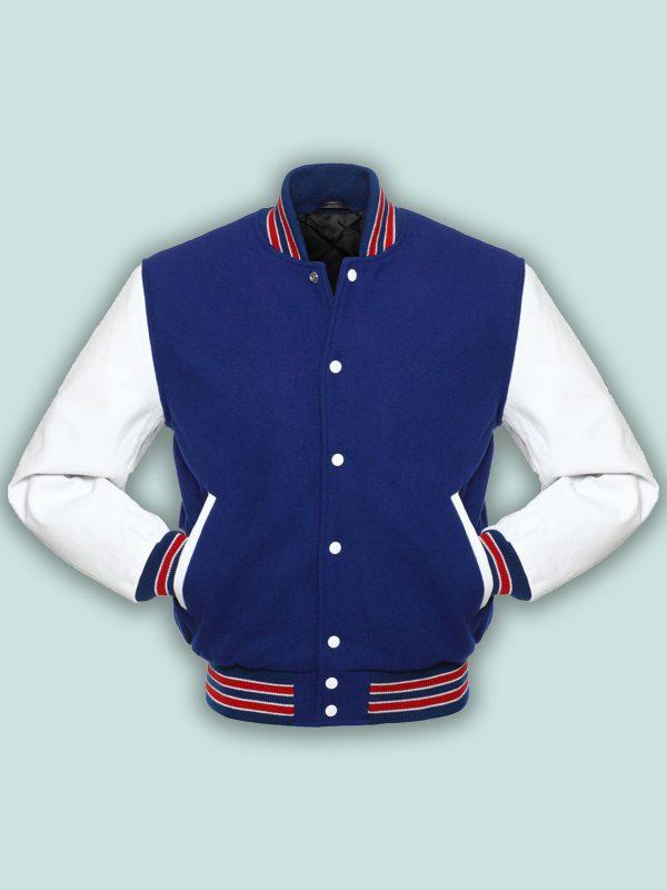 men blue wool varsity jacket