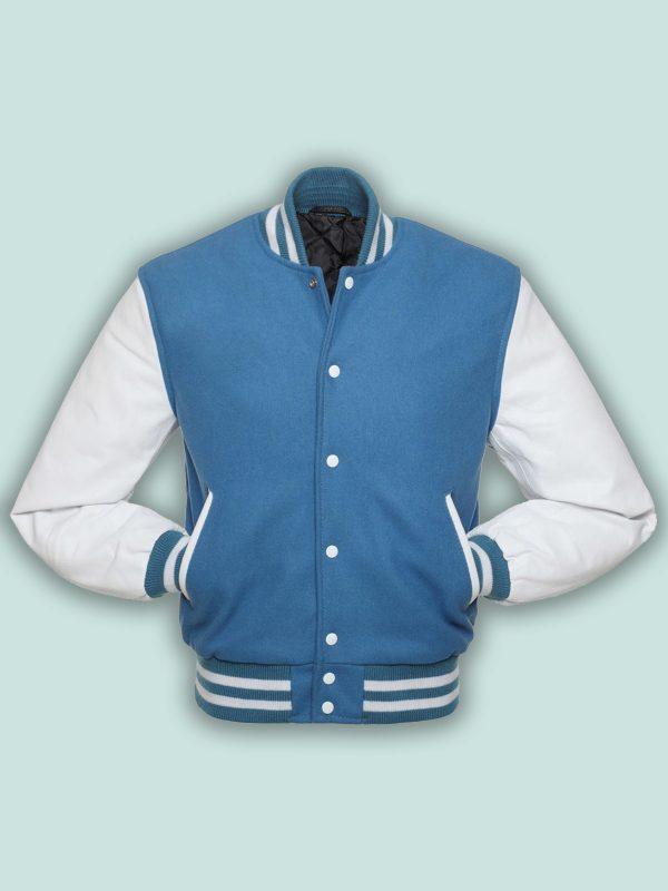 men sky blue varsity jacket