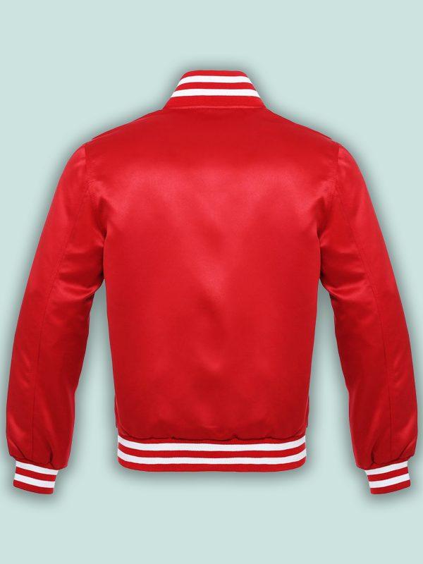 trending red satin varsity jacket