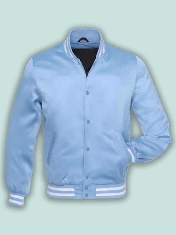 trending blue satin varsity jacket