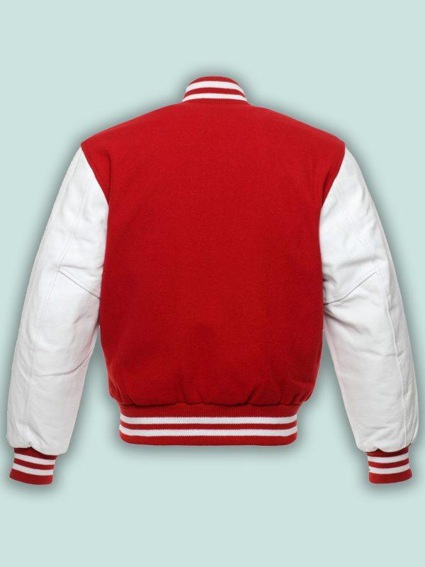 men red white varsity jacket