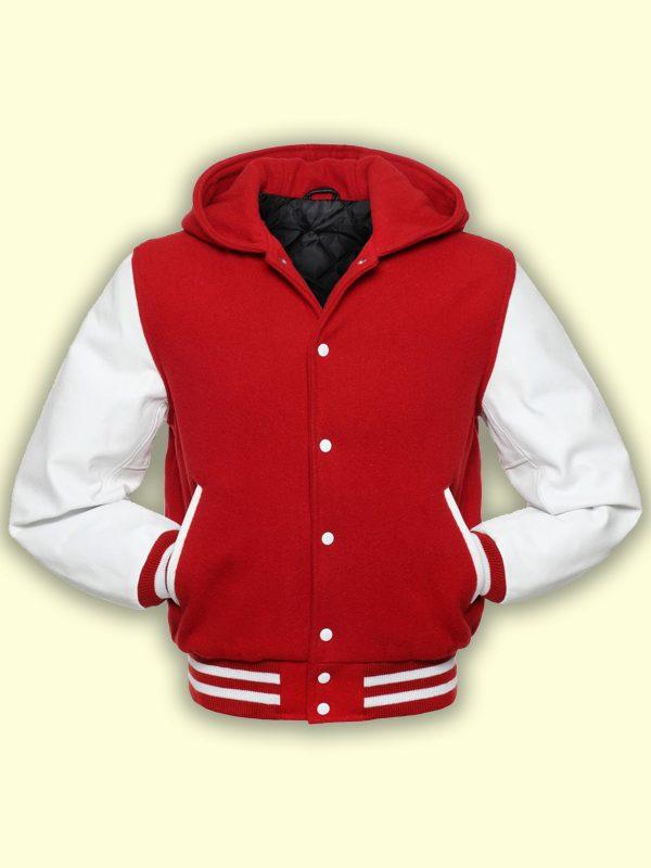 trending men red wool varsity jacket