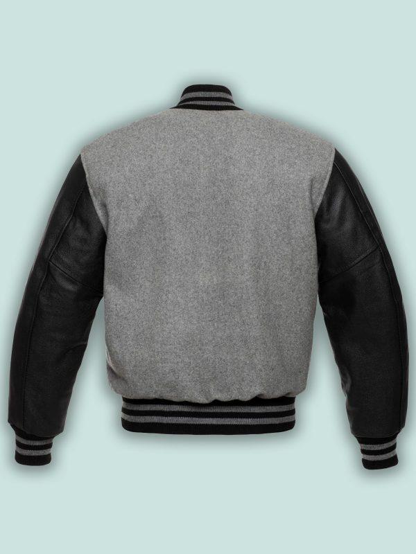 men black leather varsity jacket