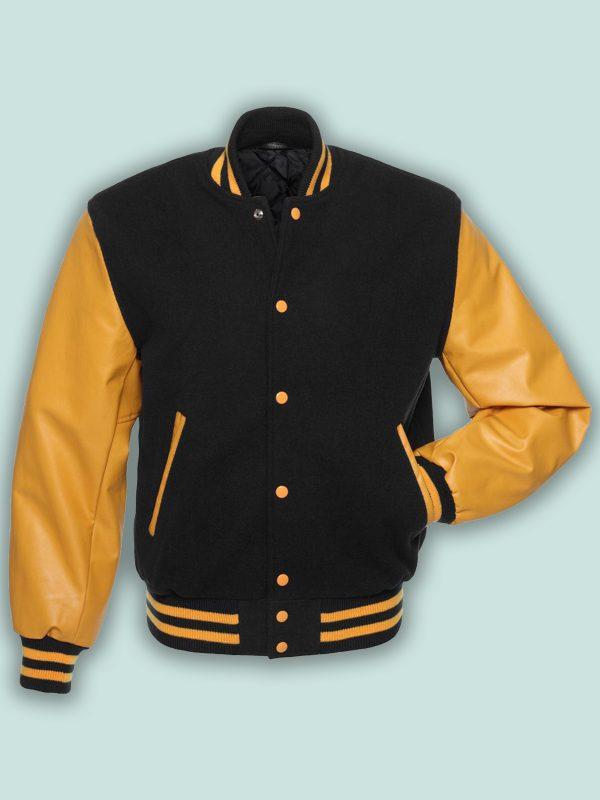 trending men black varsity jacket