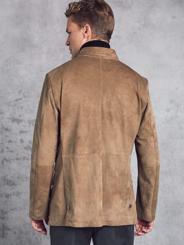 trending men brown suede leather jacket