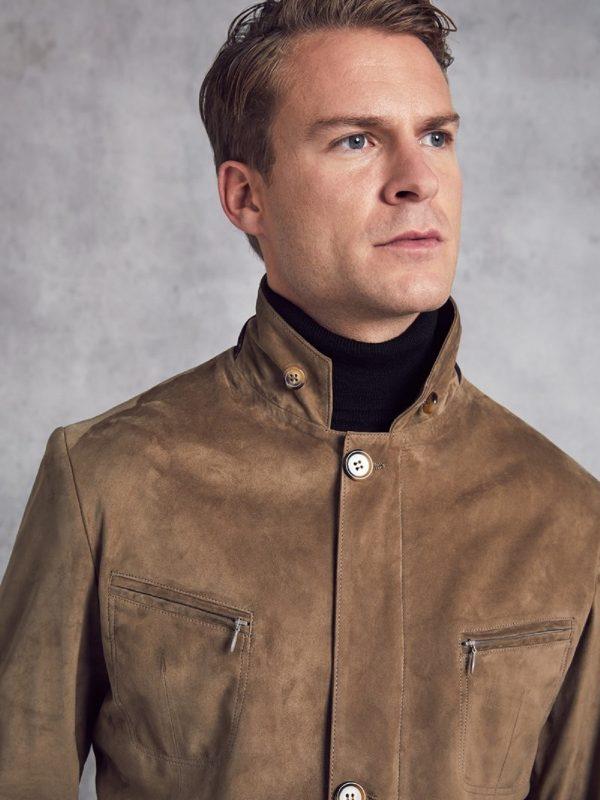men taupe brown jacket