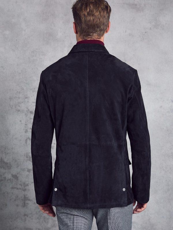 trendy men black leather jacket