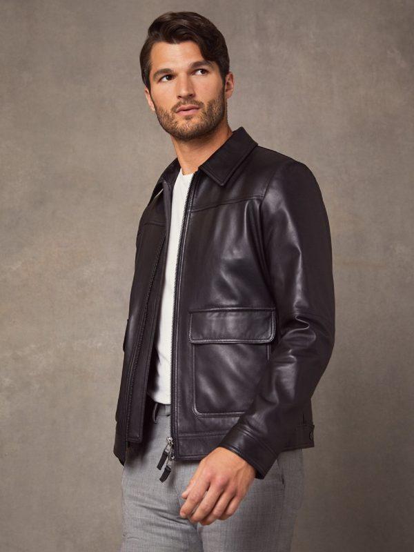 vintage black leather jacket for men