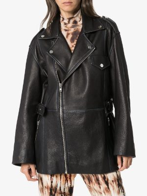 women pitch black leather jacket
