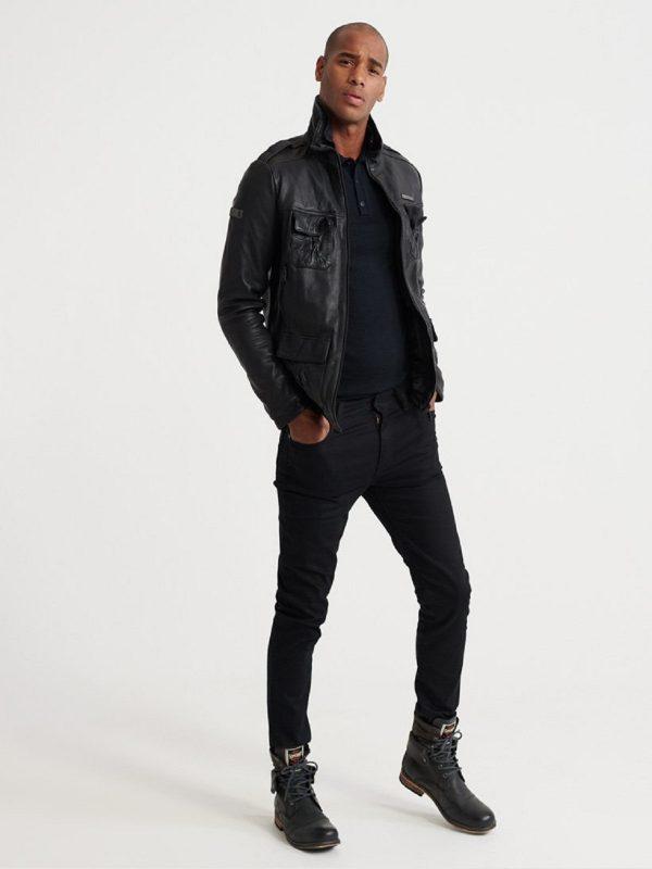 men black detective leather jacket